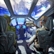 Stock Photo: Spaceship interior and alien planet
