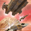 Zdjęcie stockowe: Spaceship fighters and alien planet