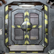 Spaceship hatch and corridor background — Stock Photo #8969469