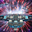 Spaceship and warp drive — Stock Photo