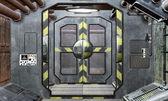 Spaceship hatch and corridor background — Stock Photo