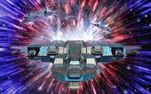 Spaceship and warp drive — Stock Photo
