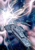 Spaceship and supernova — Stock Photo