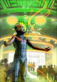 Alien mass abduction — Stock Photo
