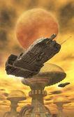 Spaceship and desert city — Stock Photo