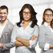 Young and successful business team in an office — Stock Photo