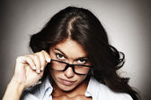 Portrait of a modern woman with horn-rimmed glasses — Stock Photo