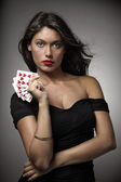 Frau pokern mit straight flush — Stockfoto