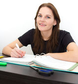 Woman Studying And Smiling — Stock Photo