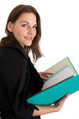 Young Female Student With A Folder/Binder — Stok fotoğraf