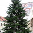 Christmas Tree In Front Of St. Mark's Church In Zagreb — Stock Photo