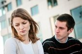 Woman and man having relationship problems — Stock Photo