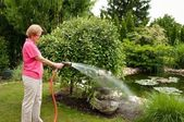 Woman watering garden — Stock Photo