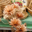 Wooden flowers and baskets - pretty and practical — Stock Photo