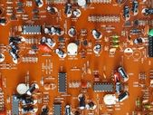 Printed circuit board of electronics - PCB parts side — Stock Photo