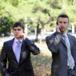 Two businessmen talking on the phone — Stock Photo