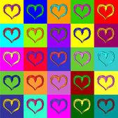 Warhol hearts — Stock Vector