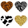 Animal print heart stickers — Stock Vector #8873472