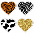 Stock Vector: Animal print heart stickers