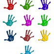 Colorful hand numbers - Stock Vector