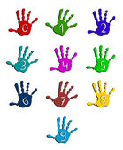Colorful hand numbers — Stock Vector