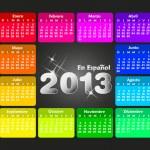 Colorful calendar 2013 in spanish. Week starts on sunday. — Stock Vector