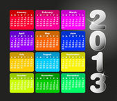Colorful calendar for 2013. Week starts on sunday — Vettoriale Stock
