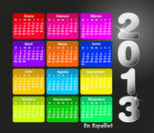 Colorful calendar 2013 in spanish. Week starts on sunday. — Stock Vector