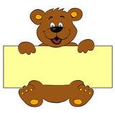 快乐熊与横幅 — 图库矢量图片
