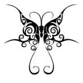 Tribal butterfly tattoo — Stock Vector
