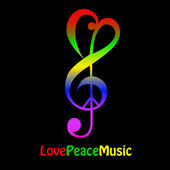 Love, peace and music — Stock Vector