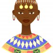 Etnic African woman with traditional jewelry — Stock Vector