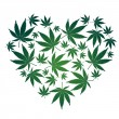 Stock Vector: Cannabis leaf heart