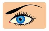 Femmina occhio con iride a forma di cuore — Vettoriale Stock