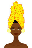 Beautiful African woman with traditional headgear — Stock Vector