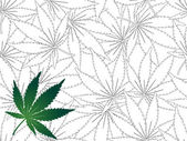 Cannabis leaf - seamless background — Stock Vector