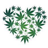 Cannabis leaf heart — Stock Vector