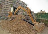 Bulldozer on gravel — Stock Photo