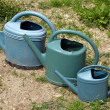 Stock Photo: Three watering cans are following closely