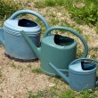 Three watering cans are following closely — Stock Photo