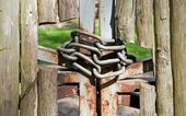 Wooden fence protected — Foto Stock