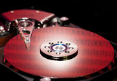 Hard disk drive with binary reflected data — Stock Photo
