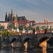 Closer view to Charles Bridge and Prague Castle — Stock Photo
