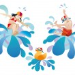 Stock Vector: Little girl and boy jumping into pool
