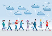 Cloud Computing Walking — Stock Vector