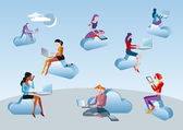 Cloud Computing Girls Sitting In Clouds — Stok Vektör