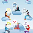 Cloud Computing Men Women And Icons - Stock Vector