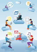 Cloud Computing Men Women And Icons — Cтоковый вектор