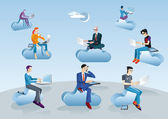 Cloud Computing Men Sitting In Clouds — Stock Vector