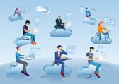 Cloud Computing Men Sitting In Clouds With Icons — Stok Vektör